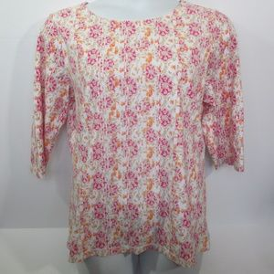 Christopher Banks Top Sz XL Pink Orange 3/4 Sleeve